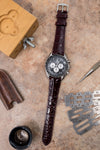 Hirsch LONDON Shiny Alligator Leather Watch Strap in BURGUNDY