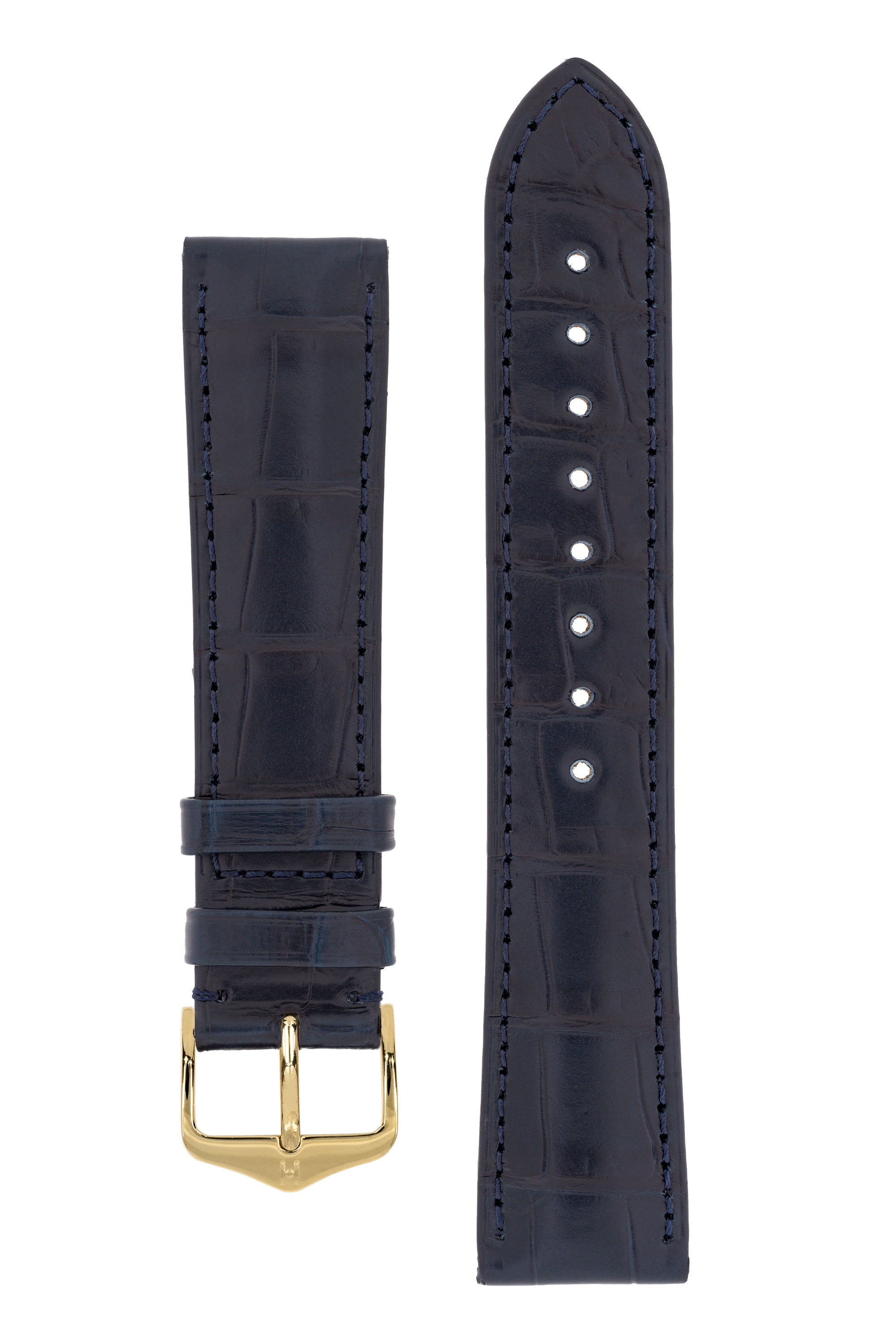 Hirsch LONDON Matt Alligator Leather Watch Strap in BLUE