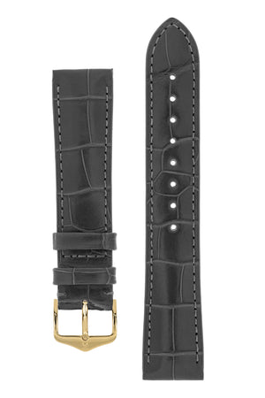 Hirsch London Genuine Matt Alligator Leather Watch Strap in Grey (with Polished Gold Steel H-Tradition Buckle)