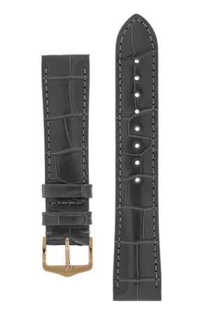 Hirsch London Genuine Matt Alligator Leather Watch Strap in Grey (with Polished Rose Gold Steel H-Tradition Buckle)