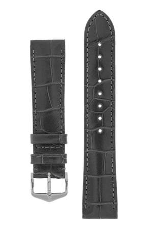 Hirsch London Genuine Matt Alligator Leather Watch Strap in Grey (with Polished Silver Steel H-Tradition Buckle)