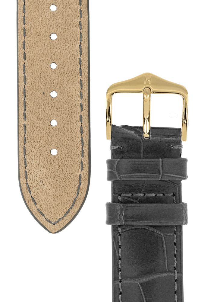 Hirsch London Genuine Matt Alligator Leather Watch Strap in Grey (Underside & Tapers)