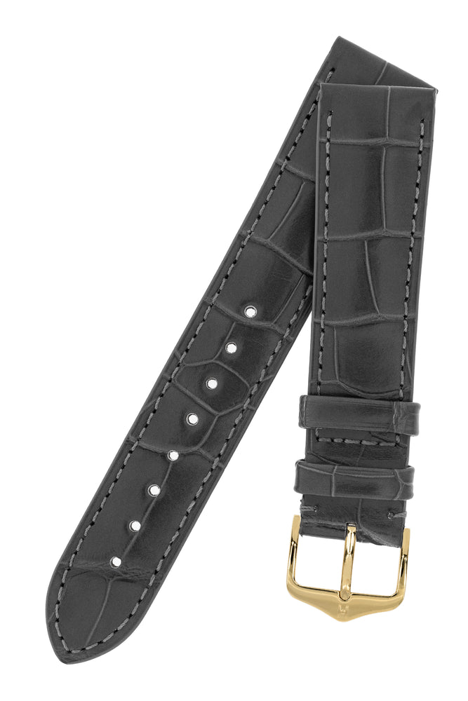 Hirsch London Genuine Matt Alligator Leather Watch Strap in Grey