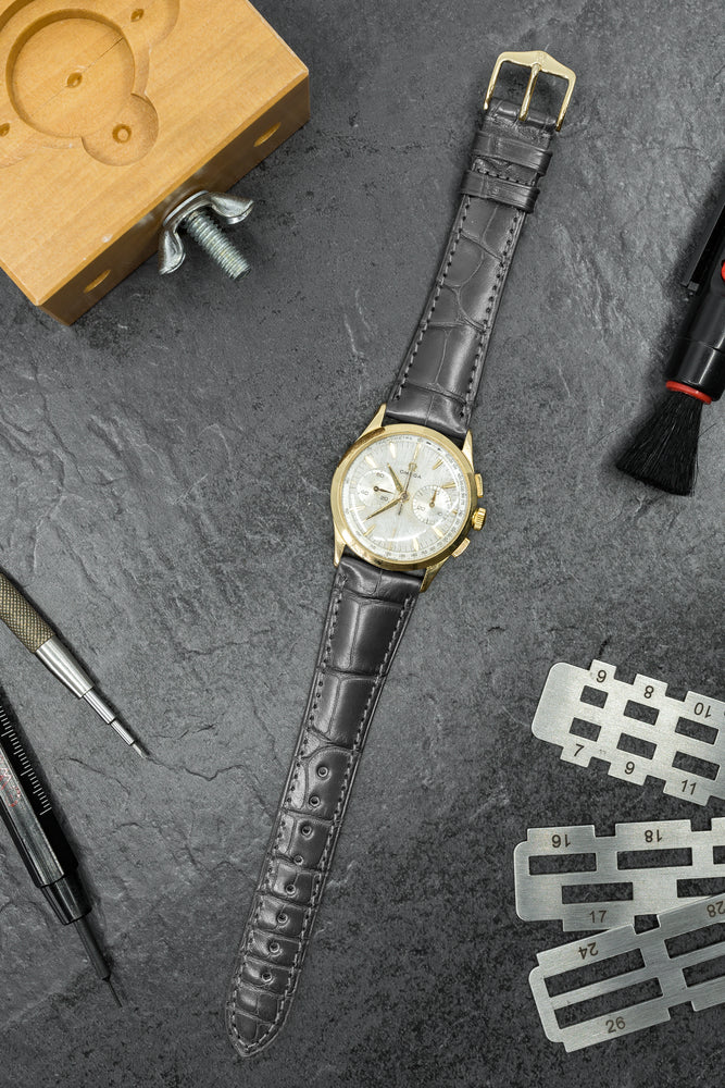 Hirsch London Genuine Matt Alligator Leather Watch Strap in Grey (Promo Photo)
