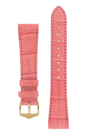 Hirsch London Genuine Matt Alligator Leather Watch Strap in Pink (with Polished Gold Steel H-Tradition Buckle)