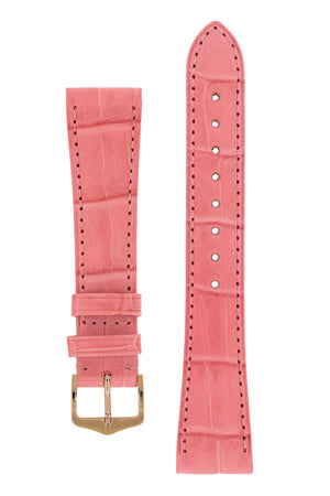 Hirsch London Genuine Matt Alligator Leather Watch Strap in Pink (with Polished Rose Gold Steel H-Tradition Buckle)