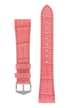 Hirsch London Genuine Matt Alligator Leather Watch Strap in Pink (with Polished Silver Steel H-Tradition Buckle)