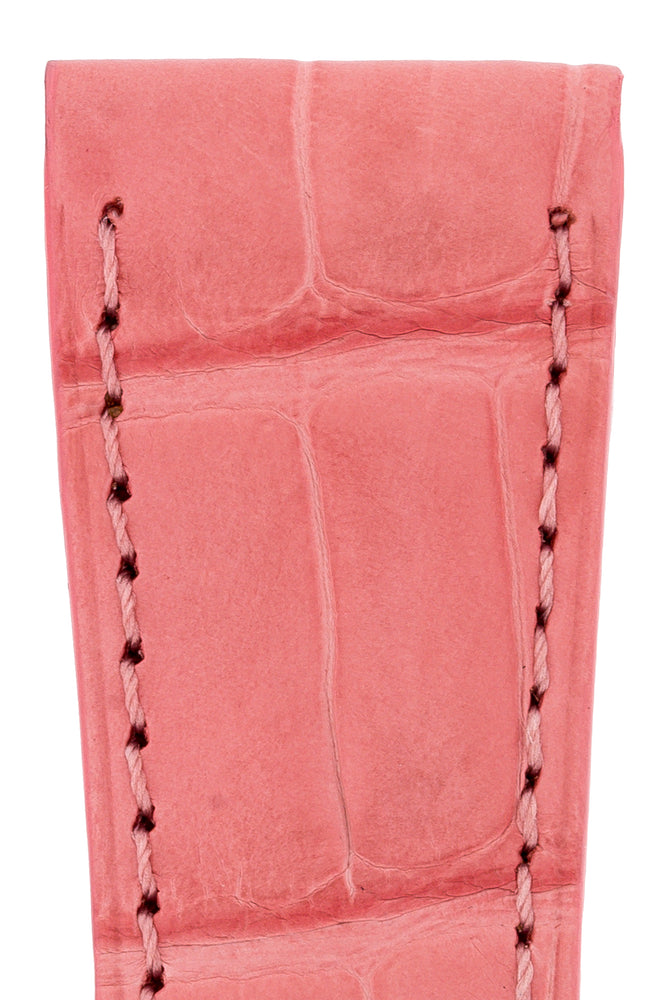 Hirsch London Genuine Matt Alligator Leather Watch Strap in Pink (Close-Up Texture Detail)