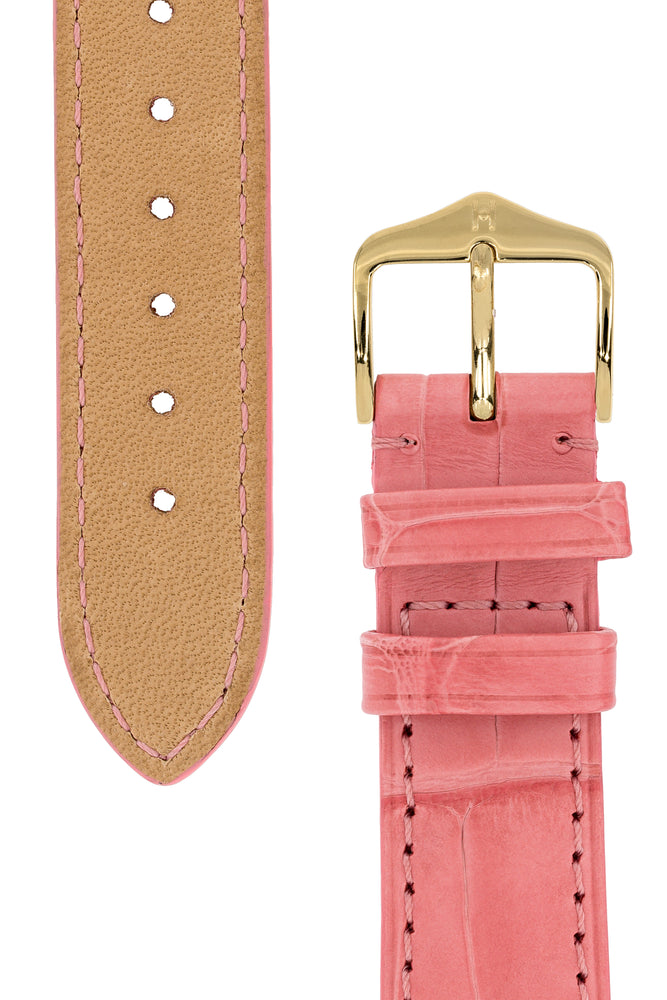 Hirsch London Genuine Matt Alligator Leather Watch Strap in Pink (Underside & Tapers)