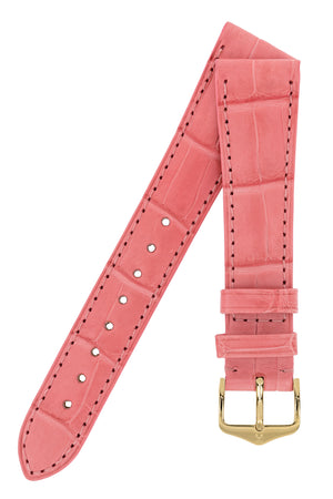 Hirsch London Genuine Matt Alligator Leather Watch Strap in Pink