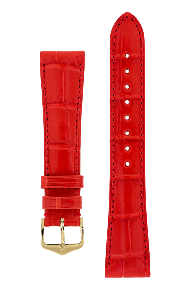 Hirsch London Genuine Matt Alligator Leather Watch Strap in Red (with Polished Gold Steel H-Tradition Buckle)