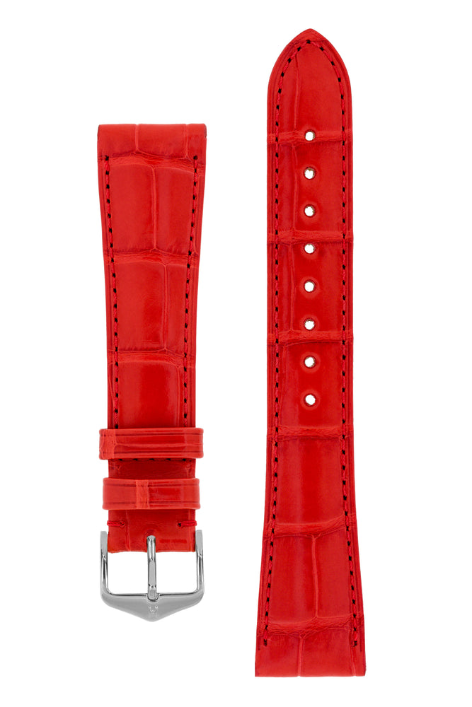 Hirsch London Genuine Matt Alligator Leather Watch Strap in Red (with Polished Silver Steel H-Tradition Buckle)