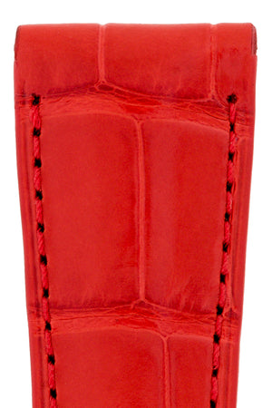 Load image into Gallery viewer, Hirsch London Genuine Matt Alligator Leather Watch Strap in Red (Close-Up Texture Detail)
