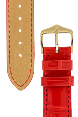 Load image into Gallery viewer, Hirsch London Genuine Matt Alligator Leather Watch Strap in Red (Underside & Tapers)