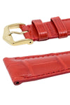 Hirsch LONDON Matt Alligator Leather Watch Strap in RED