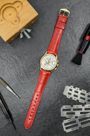 Load image into Gallery viewer, Hirsch London Genuine Matt Alligator Leather Watch Strap in Red (Promo Photo)