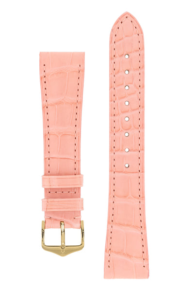 Hirsch London Genuine Matt Alligator Leather Watch Strap in Rosa (with Polished Gold Steel H-Tradition Buckle)