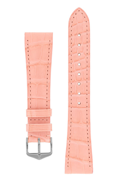 Hirsch London Genuine Matt Alligator Leather Watch Strap in Rosa (with Polished Silver Steel H-Tradition Buckle)