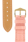 Hirsch London Genuine Matt Alligator Leather Watch Strap in Rosa (Underside & Tapers)