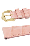 Hirsch London Genuine Matt Alligator Leather Watch Strap in Rosa (Keepers)