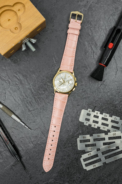 Hirsch London Genuine Matt Alligator Leather Watch Strap in Rosa (Promo Photo)