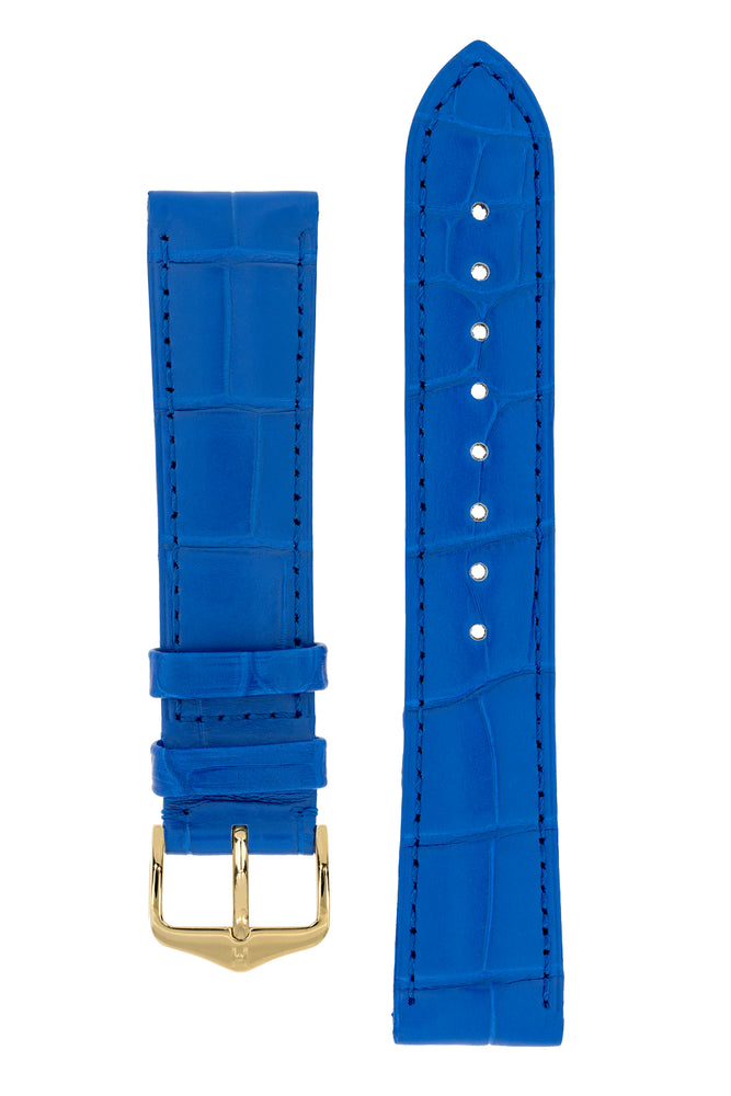 Hirsch London Genuine Matt Alligator Leather Watch Strap in Royal Blue (with Polished Gold Steel H-Tradition Buckle)