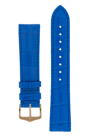Hirsch London Genuine Matt Alligator Leather Watch Strap in Royal Blue (with Polished Rose Gold Steel H-Tradition Buckle)