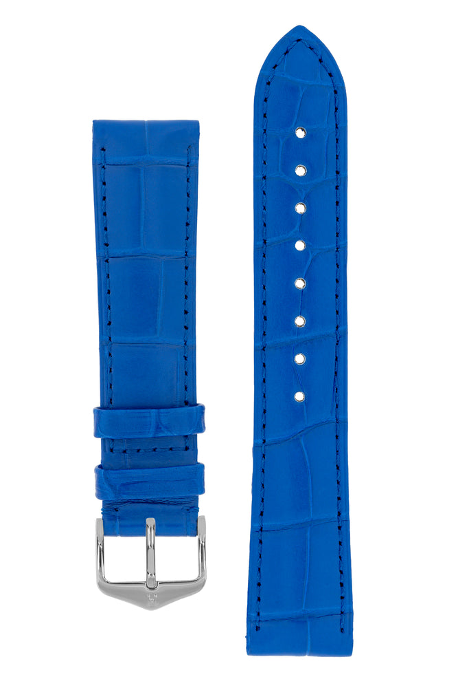 Hirsch London Genuine Matt Alligator Leather Watch Strap in Royal Blue (with Polished Silver Steel H-Tradition Buckle)