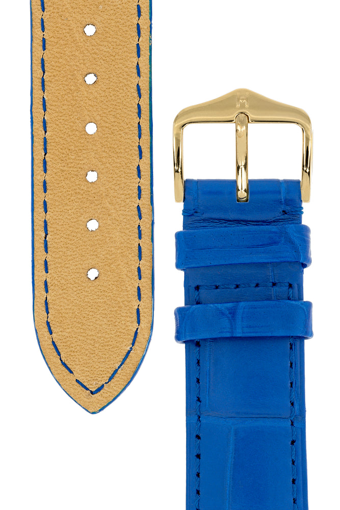 Load image into Gallery viewer, Hirsch London Genuine Matt Alligator Leather Watch Strap in Royal Blue (Underside & Tapers)