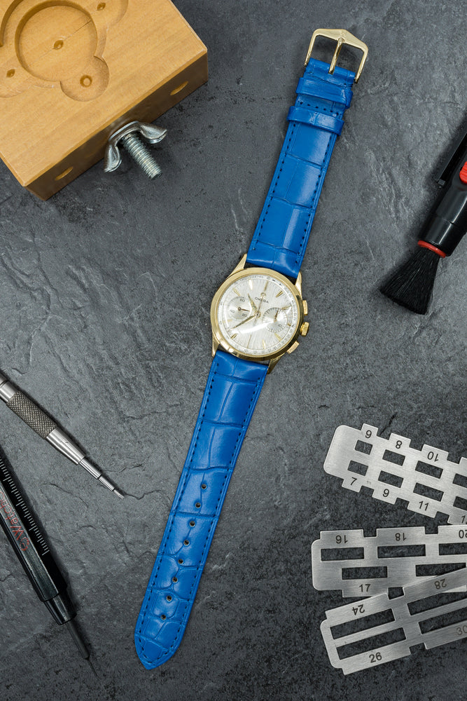 Load image into Gallery viewer, Hirsch London Genuine Matt Alligator Leather Watch Strap in Royal Blue (Promo Photo)