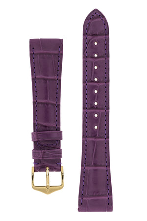Hirsch London Genuine Matt Alligator Leather Watch Strap in Violet (with Polished Gold Steel H-Tradition Buckle)