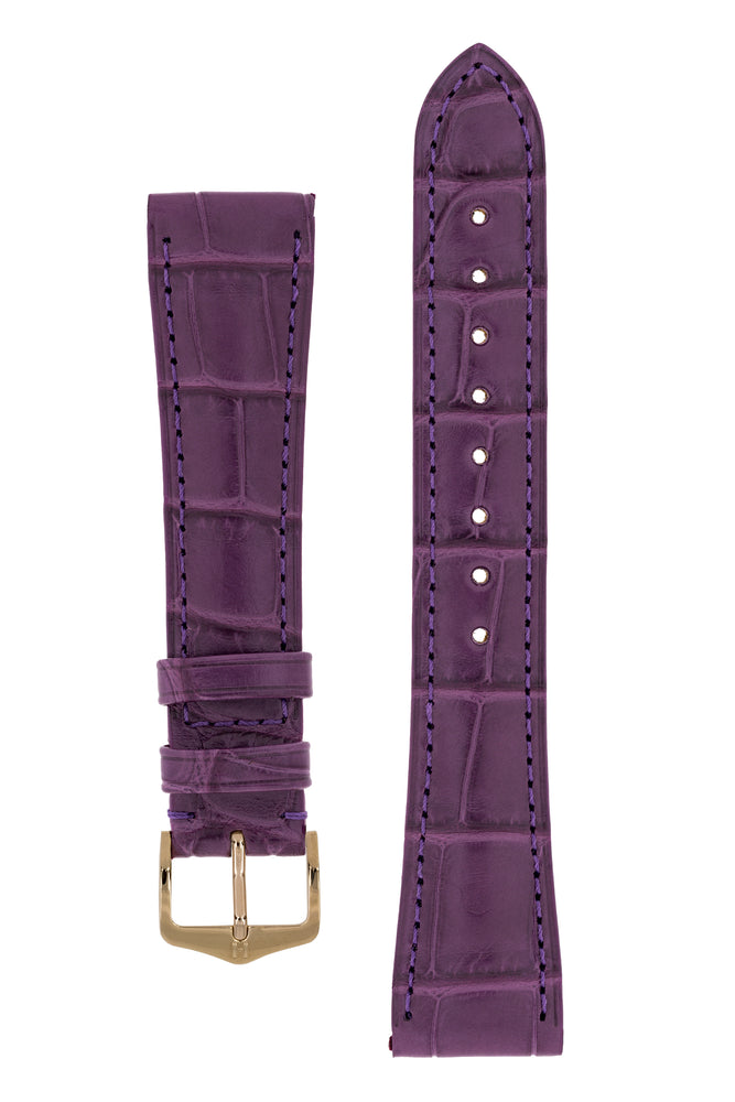 Hirsch London Genuine Matt Alligator Leather Watch Strap in Violet (with Polished Rose Gold Steel H-Tradition Buckle)