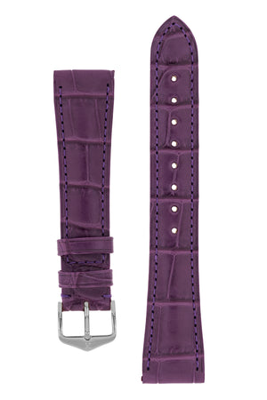 Hirsch London Genuine Matt Alligator Leather Watch Strap in Violet (with Polished Silver Steel H-Tradition Buckle)