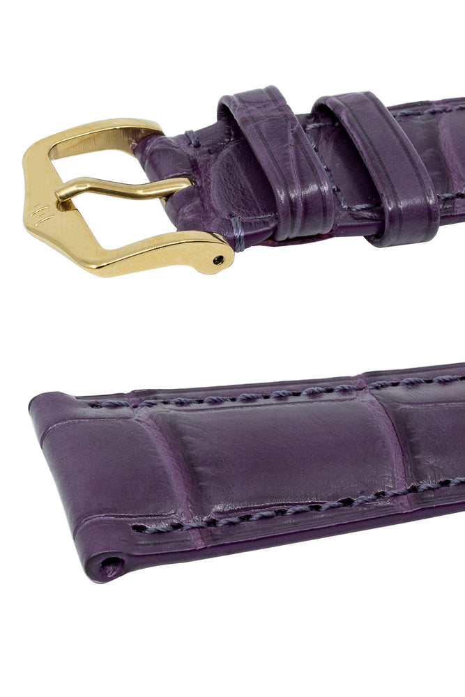 Load image into Gallery viewer, Hirsch London Genuine Matt Alligator Leather Watch Strap in Violet (Keepers)