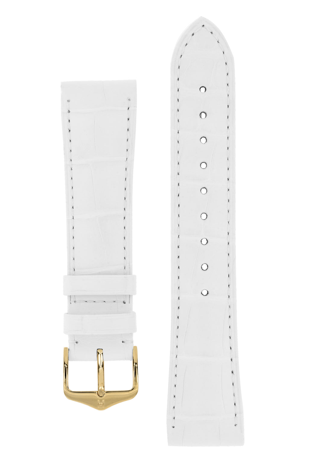 Hirsch LONDON Matt Alligator Leather Watch Strap in WHITE