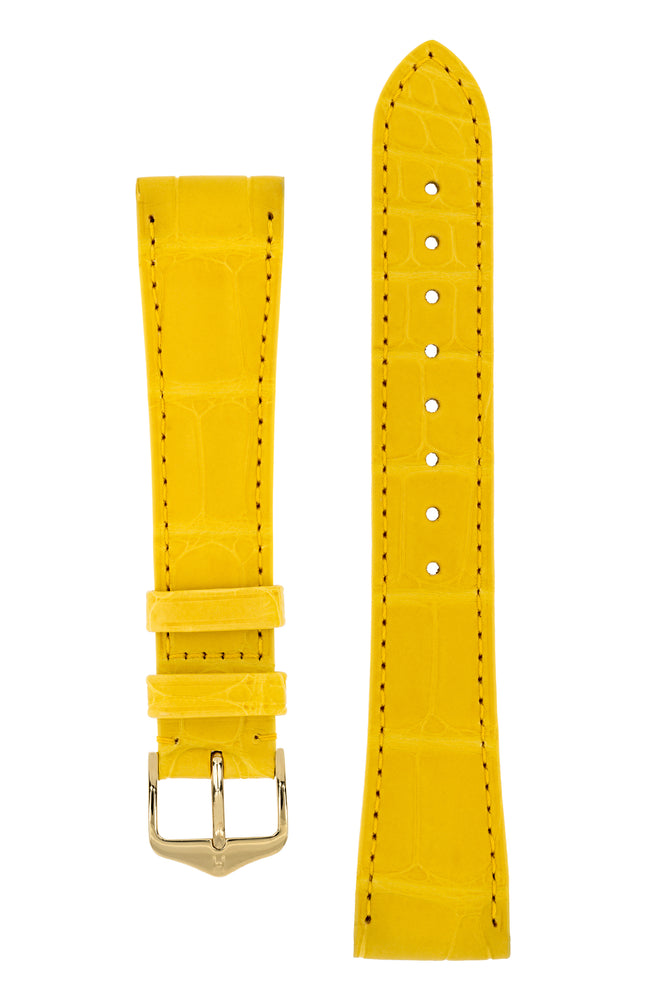 Hirsch London Genuine Matt Alligator Leather Watch Strap in Yellow (with Polished Gold Steel H-Tradition Buckle)