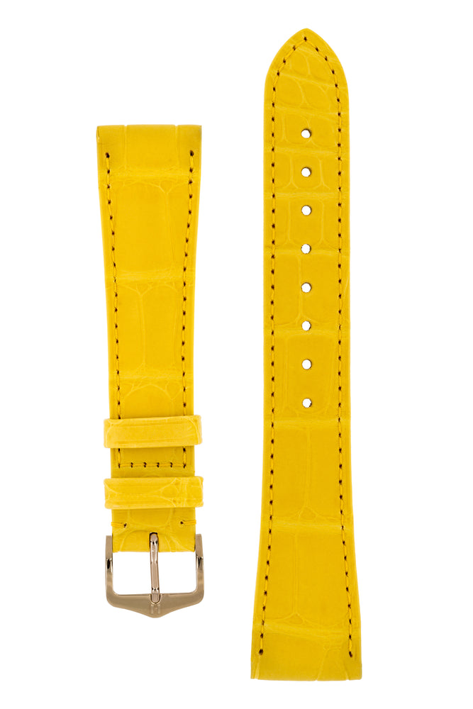 Hirsch London Genuine Matt Alligator Leather Watch Strap in Yellow (with Polished Rose Gold Steel H-Tradition Buckle)