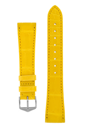 Hirsch London Genuine Matt Alligator Leather Watch Strap in Yellow (with Polished Silver Steel H-Tradition Buckle)