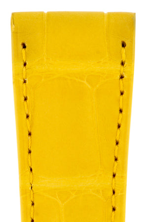 Load image into Gallery viewer, Hirsch London Genuine Matt Alligator Leather Watch Strap in Yellow (Close-Up Texture Detail)