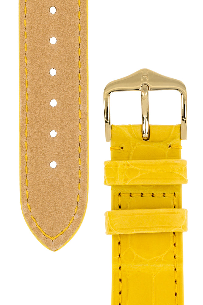 Load image into Gallery viewer, Hirsch London Genuine Matt Alligator Leather Watch Strap in Yellow (Underside & Tapers)