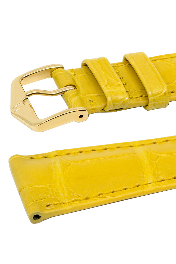 Load image into Gallery viewer, Hirsch London Genuine Matt Alligator Leather Watch Strap in Yellow (Keepers)