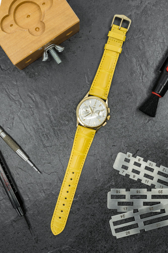 Load image into Gallery viewer, Hirsch London Genuine Matt Alligator Leather Watch Strap in Yellow (Promo Photo)
