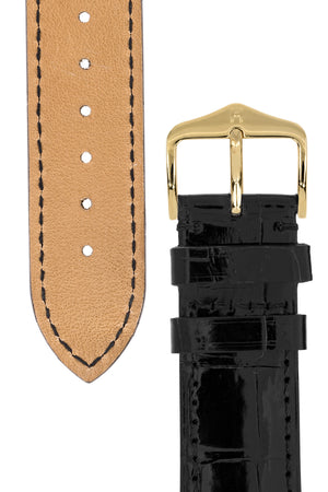 Hirsch LONDON Shiny Alligator Leather Watch Strap in BLACK