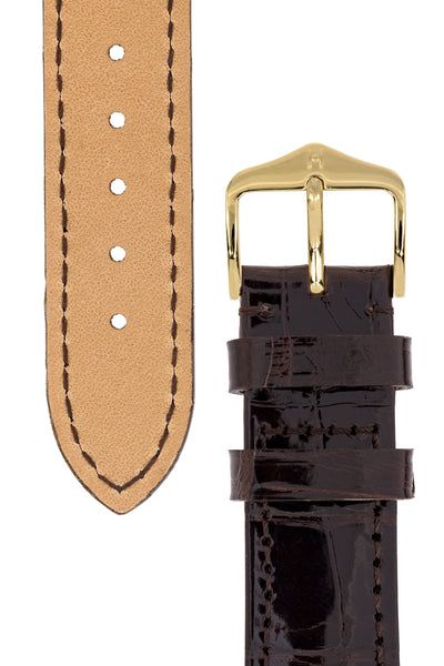 Hirsch LONDON Shiny Alligator Leather Watch Strap in BROWN