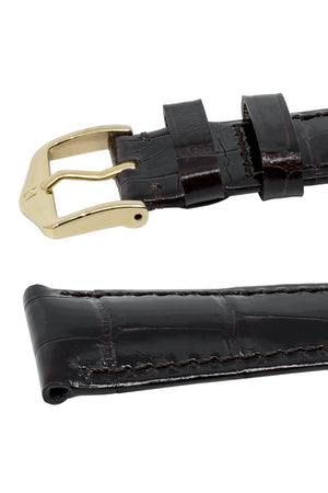 Hirsch London Genuine Shiny Glosee Alligator Leather Watch Strap in Brown (Keepers)