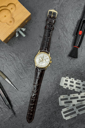 Hirsch London Genuine Shiny Glosee Alligator Leather Watch Strap in Brown (Promo Photo)