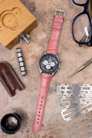 Hirsch London Genuine Matt Alligator Leather Watch Strap in Pink (Promo Photo)