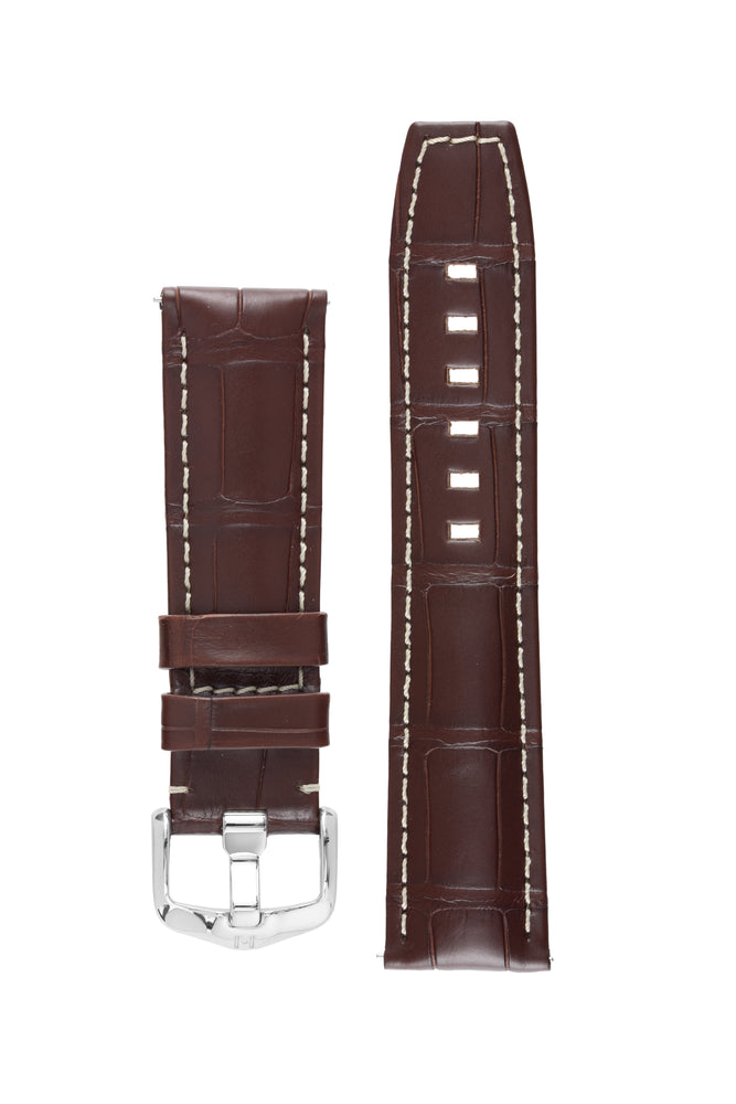 Hirsch TRITONE Padded Alligator Leather Watch Strap in BROWN with WHITE Stitching