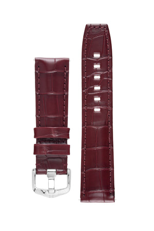 Load image into Gallery viewer, Hirsch TRITONE Padded Alligator Leather Watch Strap in BURGUNDY