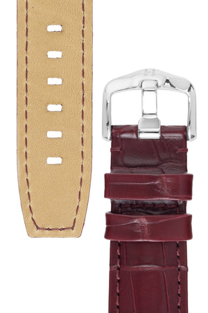 Hirsch TRITONE Padded Alligator Leather Watch Strap in BURGUNDY